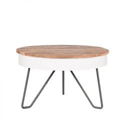 Table de Salon Saria Ø 80 cm | Bois & Blanc