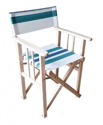 Director Chair Striped | Natural / Green / Blue