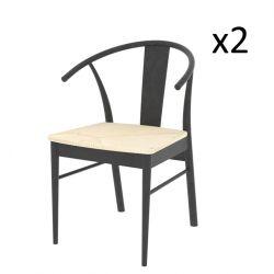 Stühle Jan 2er-Set | Eiche / Schwarz