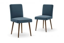 Set of 2 Armchairs Fragrance | Brown Legs | Blue Backrest