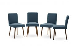 Set of 4 Armchairs Fragrance | Brown Legs | Blue Backrest