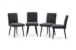 Set of 4 Armchairs Fragrance | Black Legs | Anthracite Backrest