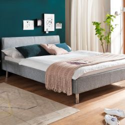 Upholstered Bed Hip Hop 140 x 200 cm | Light Grey with Metal Legs