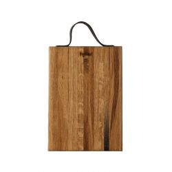 Wooden Cutting Board with Leather Handle 35 x 20 cm