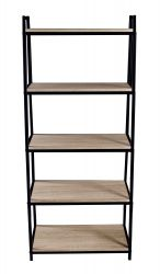 Bookcase Pictor 5 Shelves | Black, Wood