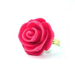 Rose Flower Ring Hot Pink