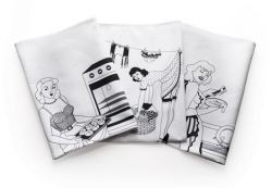 Set of 50s Housewives Teatowels