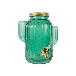 Glass Dispenser | Green / Gold Metal