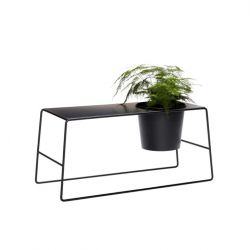 Side Table with Pot Holder | Black