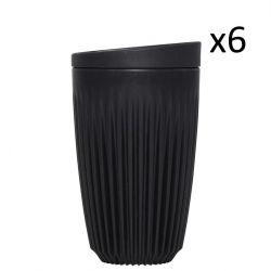 Mehrweg-Kaffeetasse + Deckel Huskee 36 cl / Set de 6 | Holzkohle