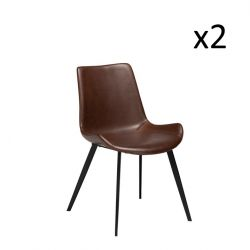 Set of 2 Chairs Hype | Cocoa Brown PU Leather & Black Legs