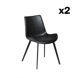 Set of 2 Chairs Hype | Vintage Black PU Leather & Black Legs