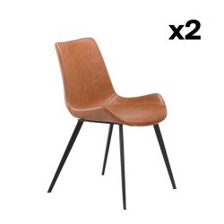 Set of 2 Chairs Hype | Vintage Light Brown PU Leather & Black Legs