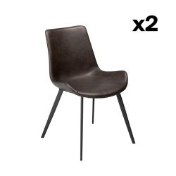 Set of 2 Chairs Hype | Vintage Grey PU Leather & Black Legs