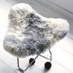 Sheepskin Stool Flying Goose | Shorn Grey / Chrome Frame