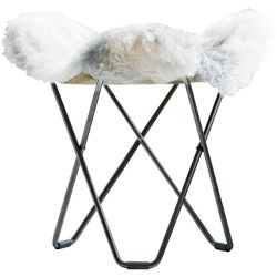 Sheepskin Stool Flying Goose | Shorn Grey / Black Frame