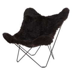 Icelandic Shorn Butterfly Chair | Black