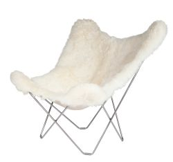 Chaise Papillon Peau d'Islande | Blanc Court / Chrome