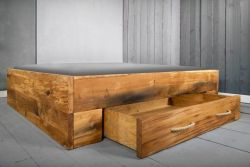 Bed Langon with 2 Drawers | Oak Wood