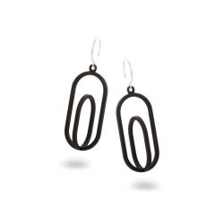 Framed Earrings Oval | Black