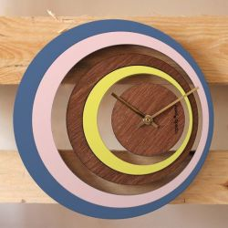 Petite Illusion Clock | Wood/Blue