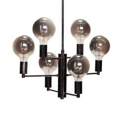 Hängelampe mit 6 Lampe | Schwarz