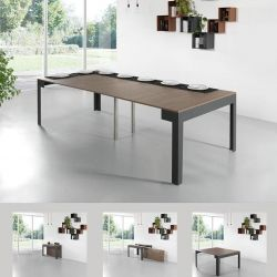 Ulisse Table avec 4 Extensions  | Ardesia & Noyer
