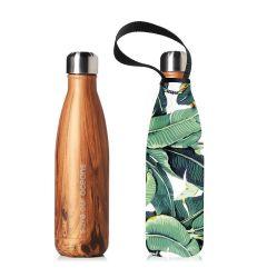 Trinkflasche & Tragehülle 500 ml | Holzkorn & Bananenblatt