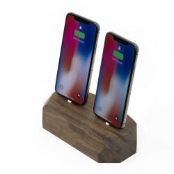Dubbel Docking Station Polygonaal | Walnoot