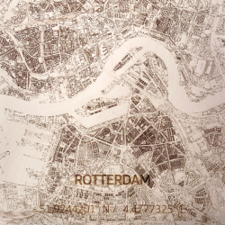 Wooden Wall Decoration | City Map | Rotterdam