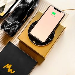 Wireless Charger | Black Marble / Gold