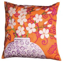 Designer Pillow In Bloom Orange