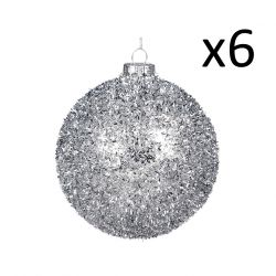 6er-Set Glaskugeln 10 cm | Silber