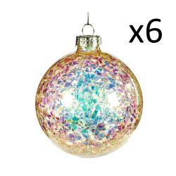 6er-Set Glaskugeln 8 cm | Creme/Mehrfarbig