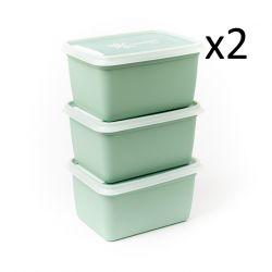 6er-Set Boxen Alaska 1000 ml | Minzgrün