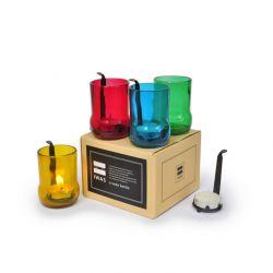 4er-Set Teelichthaltern mit Teelichtern | Farbig