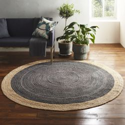 Round Jute Rug | Light Grey