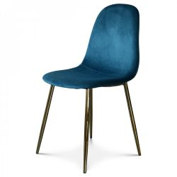 Chaise Josef Velours | Bleu/Or