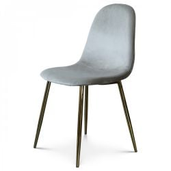 Chaise Josef Velours | Taupe/Or