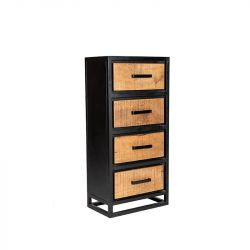 Schubladenschrank Cuba | Mango Holz - Schwarzes Metall