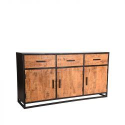 Dressoir Cuba 170x45x90 cm | Mangohout & Zwart Metaal