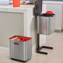 Intelligent Waste Bin Totem 60L | Silver / Red
