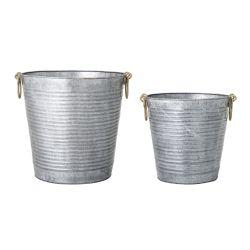 Set of 2 Flowerpots Metal | Grey