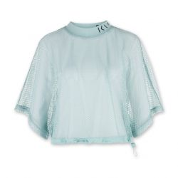 Woman Cropped Mesh Tee | Mint Blue
