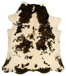 Einzigartiger Rindslederteppich | Dunkelbraun-Creme-Grau-Weiß