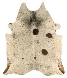 Einzigartiger Rindslederteppich | Weiß-Creme-Schwarz
