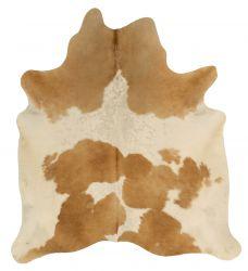 Einzigartiger Rindslederteppich | Beige-Creme-Dunkelbraun