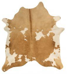 Einzigartiger Rindslederteppich | Beige-Weiß-Creme-Dunkelbraun