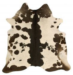 Einzigartiger Rindslederteppich |  Cremegrau-Schwarz-Dunkelbraun