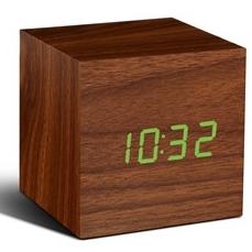 Würfel-Klick-Uhr Nussbaum / Grün